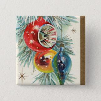 Bóton Quadrado 5.08cm Botão retro dos bulbos do feriado do Natal do