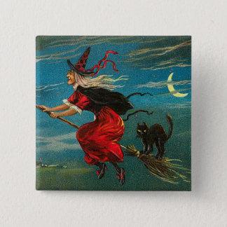 Bóton Quadrado 5.08cm Bruxa que voa a lua do crescente do gato preto
