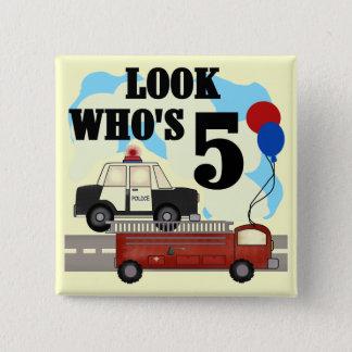 Bóton Quadrado 5.08cm Camiseta do aniversário dos heróis diários 5o
