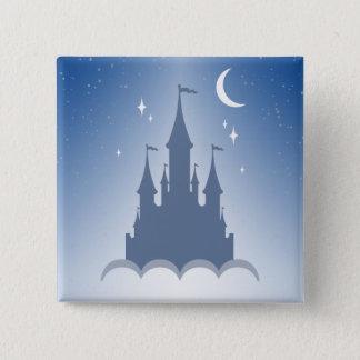 Bóton Quadrado 5.08cm Castelo sonhador azul no céu estrelado da lua das