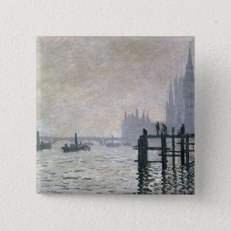 Bóton Quadrado 5.08cm Claude Monet   a Tamisa abaixo de Westminster