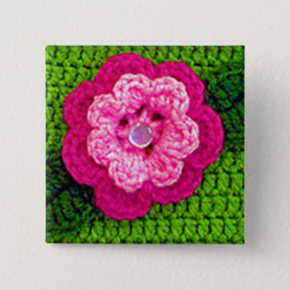 Bóton Quadrado 5.08cm Crochet cor-de-rosa do verde da flor no botão do