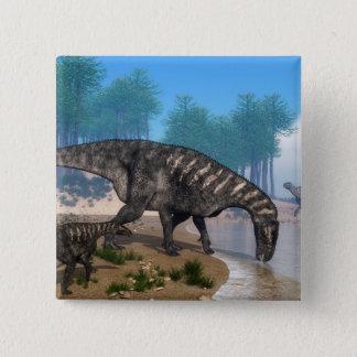 Bóton Quadrado 5.08cm Dinossauros de Iguanodon