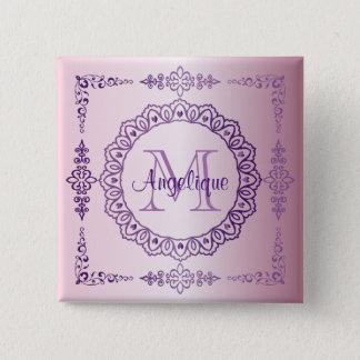 Bóton Quadrado 5.08cm Do laço roxo do rico do quadro do monograma Lilac