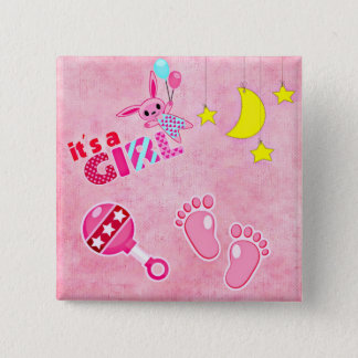 Bóton Quadrado 5.08cm É um chá de fraldas dos brinquedos | do rosa da