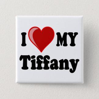 Bóton Quadrado 5.08cm Eu amo (coração) meu gato de Tiffany