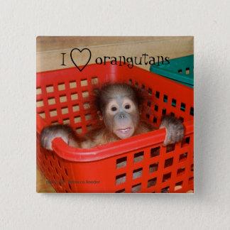 Bóton Quadrado 5.08cm Eu amo o amante dos animais dos orangotango