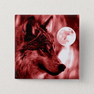 Bóton Quadrado 5.08cm Lobo & lua
