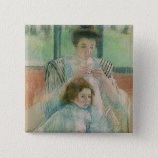 Bóton Quadrado 5.08cm Mãe e criança