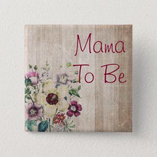 Bóton Quadrado 5.08cm Mama a ser botão rústico do chá de fraldas da flor