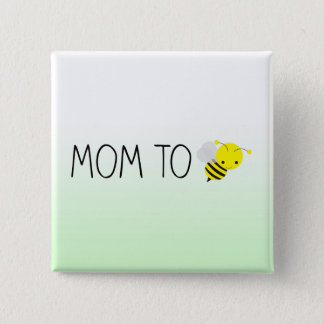 Bóton Quadrado 5.08cm Mamã a ser, verde bonito do zangão/amarelo