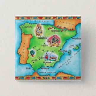 Bóton Quadrado 5.08cm Mapa da espanha