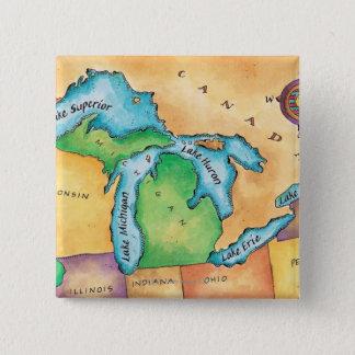 Bóton Quadrado 5.08cm Mapa dos grandes lagos