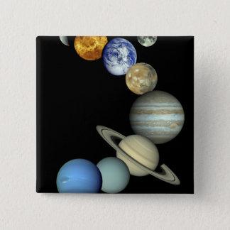 Bóton Quadrado 5.08cm Montagem do sistema solar