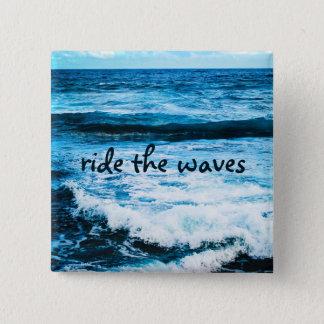 """Bóton Quadrado 5.08cm """"Monte foto do oceano de turquesa das citações das"""