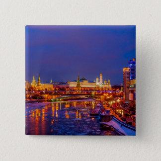 Bóton Quadrado 5.08cm Moscovo Kremlin iluminado