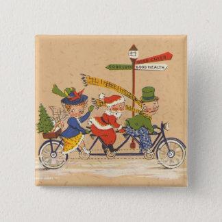 Bóton Quadrado 5.08cm Natal vintage, Papai Noel que monta uma bicicleta