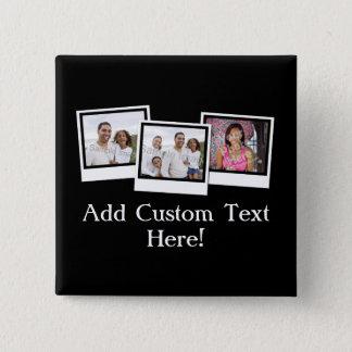Bóton Quadrado 5.08cm O instantâneo 3-Photo personalizado molda a cor