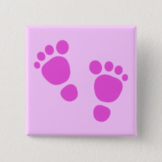 Bóton Quadrado 5.08cm Pegada cor-de-rosa do bebê é uma menina! Botão