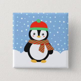 Bóton Quadrado 5.08cm Pinguim do feriado