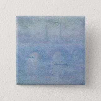 Bóton Quadrado 5.08cm Ponte de Claude Monet | Waterloo: Efeito da névoa