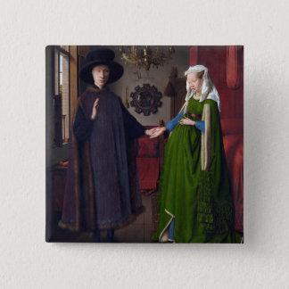 Bóton Quadrado 5.08cm Retrato 1434 de JANEIRO CAMIONETE EYCK- Arnolfini