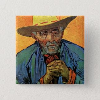 Bóton Quadrado 5.08cm Retrato de Van Gogh da arte do vintage de Escalier