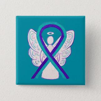 Bóton Quadrado 5.08cm Roxo e Pin do botão do anjo da fita da consciência