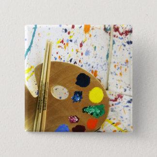 Bóton Quadrado 5.08cm Splatter da pintura dos artistas e pálete da