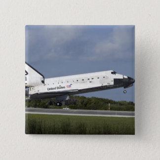 Bóton Quadrado 5.08cm Terras da descoberta do vaivém espacial na pista