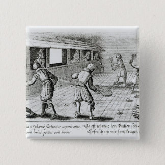 Bóton Quadrado 5.08cm Um jogo do tênis real com baladas do esporte