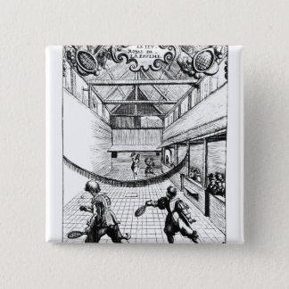 Bóton Quadrado 5.08cm Um jogo real do tênis no Jeu de Paume