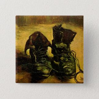 Bóton Quadrado 5.08cm Van Gogh um o par de sapatos, do vintage arte da