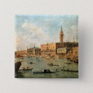 Bóton Quadrado 5.08cm Veneza: O palácio e o Molo do Doge dos vagabundos