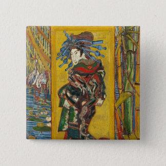 Bóton Quadrado 5.08cm Vincent van Gogh - La Courtisane. Emblema retro do