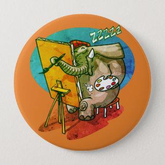 Bóton Redondo 10.16cm o elefante o pintor é desenhos animados engraçados