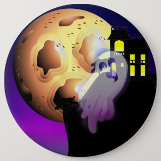 Bóton Redondo 15.24cm Casa, lua e fantasma assombrados