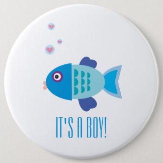 Bóton Redondo 15.24cm É um menino - desenhos animados azuis dos peixes -