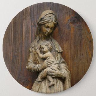 Bóton Redondo 15.24cm Mary e bebê Jesus