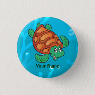 Bóton Redondo 2.54cm Botão bonito aquático do costume da tartaruga do
