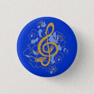 Bóton Redondo 2.54cm Botão do costume da música das peônias do Clef de