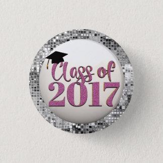Bóton Redondo 2.54cm Classe de prata e cor-de-rosa do botão 2017 da