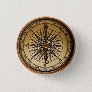 Bóton Redondo 2.54cm Compasso de bronze velho nostálgico de Steampunk