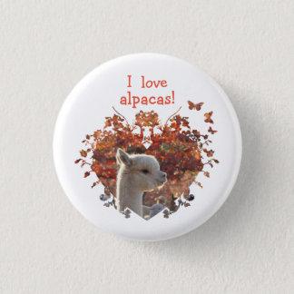 Bóton Redondo 2.54cm Eu amo o botão das alpacas