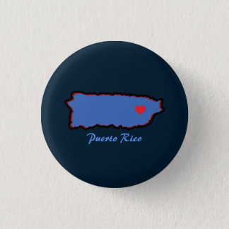 Bóton Redondo 2.54cm Lembrança: Mapa de Puerto Rico: Pin
