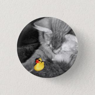 """Bóton Redondo 2.54cm """"Não alimente o botão de borracha do pato do gato"""""""