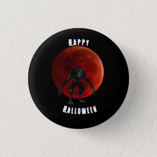 Bóton Redondo 2.54cm Pin preto do Dia das Bruxas da lua vermelha do