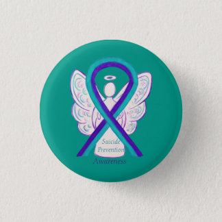 Bóton Redondo 2.54cm Pinos do anjo da fita da consciência da prevenção