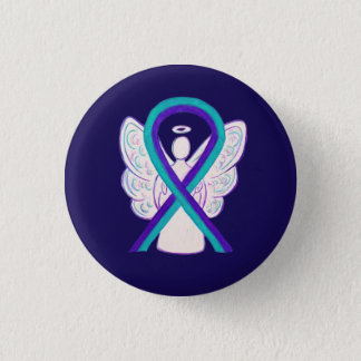 Bóton Redondo 2.54cm Roxo e Pin do botão do anjo da fita da consciência