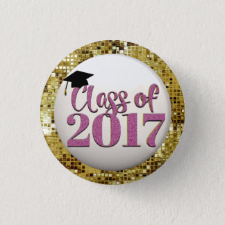 Bóton Redondo 2.54cm Sequins do ouro, classe cor-de-rosa do botão 2017
